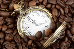 Pocket watch in coffee Royalty Free Stock Photography