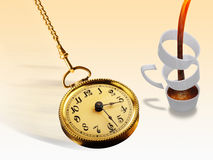 Pocket Watch and Coffee Cup. Golden pocket watch next to a coffee cup in pieces Stock Photos