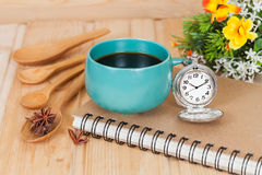 Pocket watch and coffee cup Stock Photography