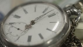 Pocket watch dial closeup, hands moving. Time flying by, history. Stock footage stock video footage