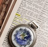 Pocket Watch and Dictionary Peace. Concept and symbols, pocket watch and dictionary, definition of the word peace. Square photo royalty free stock images
