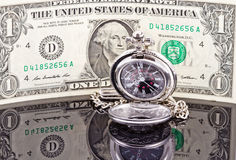 Pocket watch and dollar Stock Image