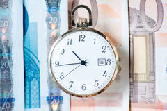 Pocket watch with euro banknotes and coins Royalty Free Stock Image