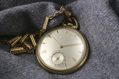 Pocket Watch on Gray Flannel Stock Photography