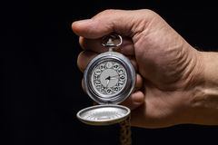 Pocket watch in  hand. Royalty Free Stock Photos