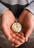 Pocket Watch In Hands Stock Images