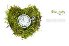 Pocket watch in a heart of grass isolated on white for health ca Royalty Free Stock Photo