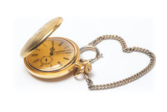Pocket watch with a heart shaped chain Stock Photos