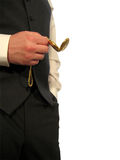 Pocket Watch III. A man in grey business suit holds a golden pocket watch Royalty Free Stock Images
