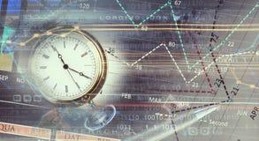 Pocket watch on infographs . Mixed media stock photos