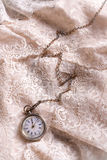 Pocket watch on lace Stock Photography