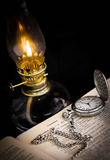 Pocket watch and lamp Stock Photography