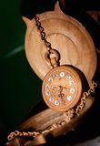 Pocket watch made of wood Stock Photos