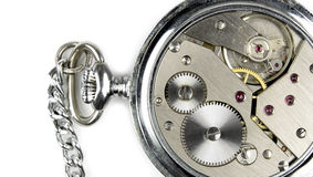 Pocket watch mechanics inside Stock Photo