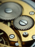 Pocket watch mechanism. Macro photo of pocket watch mechanism Stock Photo
