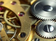 Pocket watch mechanism. Macro photo of pocket watch mechanism Royalty Free Stock Photos