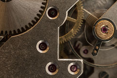 Pocket watch mechanism close up Stock Photo