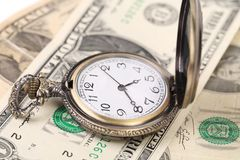 Pocket watch on money. Stock Images