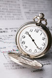 Pocket watch on the newspaper Royalty Free Stock Images