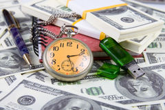 Pocket watch, notebook and pen Royalty Free Stock Image