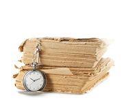 Pocket watch on the old book Royalty Free Stock Images