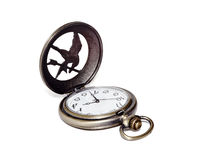 Pocket watch with an open cover on a white background. Stock Photography