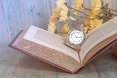Pocket Watch over Age Book Background ,Time Stock Photos