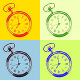 Pocket watch pop art style Stock Image