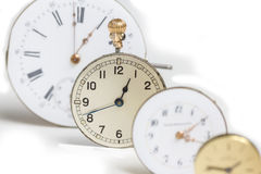 Pocket watch row. Some plain pocket watches in a row Royalty Free Stock Image
