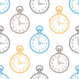Pocket watch. Seamless pattern with clocks on white background. Vector Stock Image