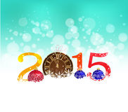 Pocket watch in snow, Happy New Year 2015 greeting card Stock Photos