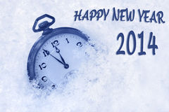Pocket watch in snow, Happy New Year 2014 greeting card Stock Image