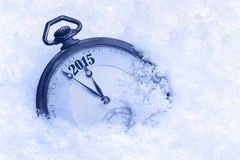 Pocket watch in snow, New Year 2015 greeting card, Stock Photo