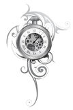 Pocket watch tattoo. With abstract ornament isolated on white Royalty Free Stock Photos