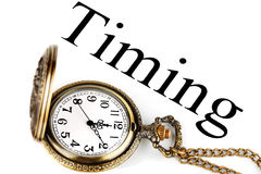 Pocket watch with timing sign. Timing - concept of business. Pocket watch with timing sign on the white background royalty free stock image