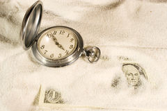 Pocket watch and US dollars Royalty Free Stock Photo