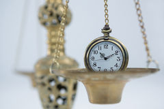 Pocket watch on weight scale Royalty Free Stock Photography