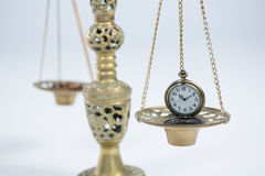 Pocket watch on weight scale Royalty Free Stock Images