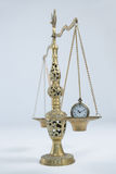 Pocket watch on weight scale Stock Image