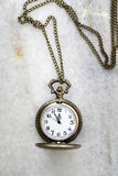 Pocket Watch With Chain On Marble. Stock Photography