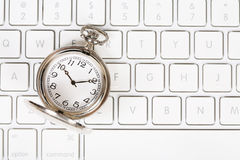 Pocket Watch With Keyboard Royalty Free Stock Images