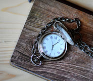 Pocket watch. On a wooden background Stock Photography