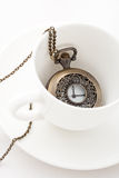 Pocket Watches. Pocket watch in a coffee cup Royalty Free Stock Image