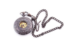 Pocket Watches. Pocket watch isolated on white background. Metal Suit Royalty Free Stock Images