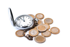 Pocket watches and coins Stock Photos
