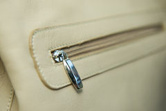 Pocket on white leather Stock Image