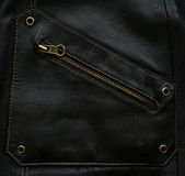 Pocket with zipper on the black leather texture Royalty Free Stock Photos