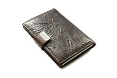 Pocketbook in leather cover Stock Images