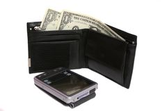 PocketPC and wallet. Black wallet with money and pocketPC on white Royalty Free Stock Image