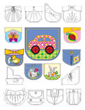 Pockets. Design of pockets for children's clothes with application Stock Image